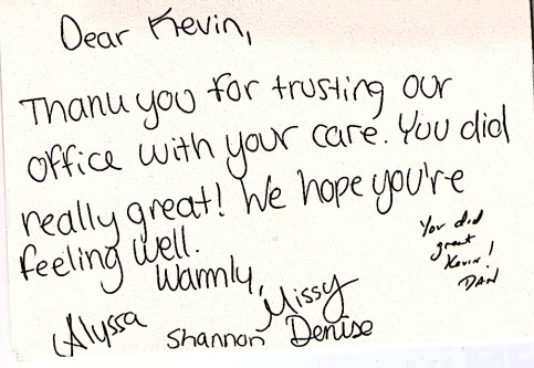 Thank You Note Signed By Staff of Crestal Health.